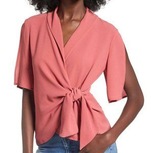 Leith Wrap Tie Front Top Red Sm